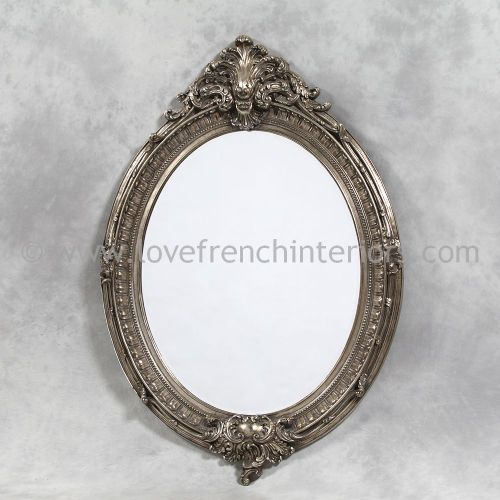 Silver Oval French Mirror